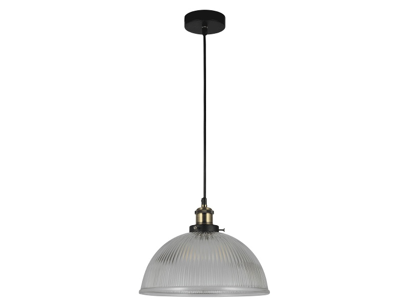 Tristan Ribbed Glass Pendant Light, Clear