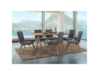 LivingStyles Royce 7 Piece American Oak Timber Dining Table Set, 167cm, Grey Chairs
