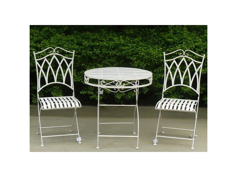 Albany 3 Piece Iron Round Garden Table Set, 70cm