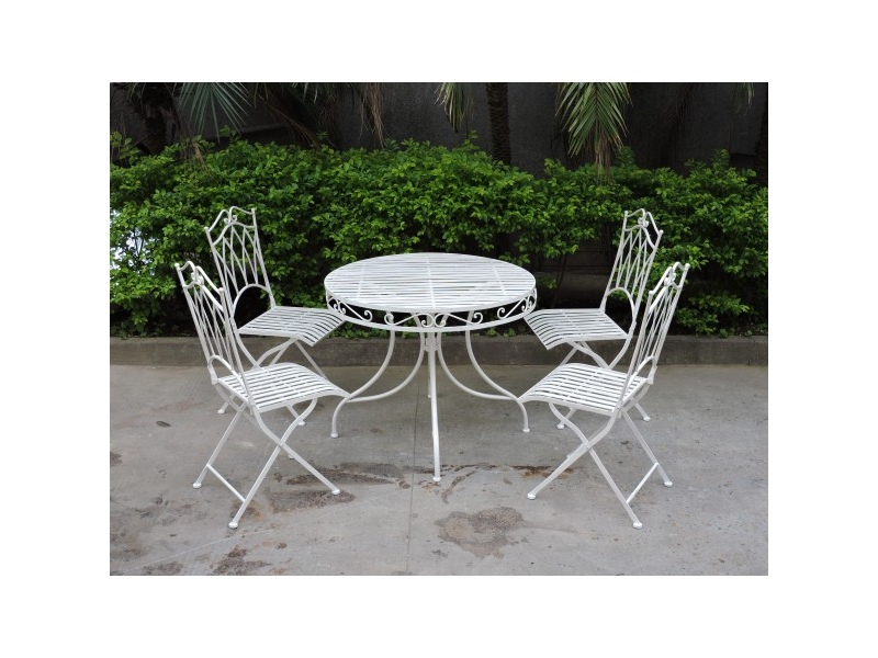 Albany 5 Piece Iron Round Garden Table Set, 90cm