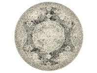 LivingStyles Museum Byron Bohemian Round Rug, 240cm, Charcoal