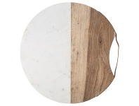 LivingStyles Luxe Marble & Timber Round Serving Board