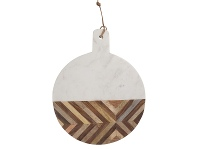 LivingStyles Alma Marble & Timber Round Serving Board, Large