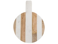 LivingStyles Moxon Marble & Timber Round Serving Board, Medium