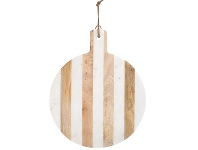LivingStyles Moxon Marble & Timber Round Serving Board, Large