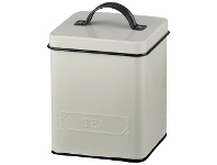 LivingStyles Pantry Embossed Carbon Steel Tea Canister, Cream