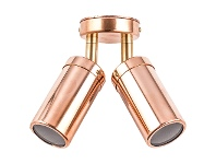 LivingStyles Roslin Economy IP54 Exterior Double Adjustable Wall Light, MR16, Copper with Brass Knuckle