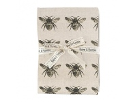 LivingStyles Abby Bee 4 Piece Fabric Napkin Set, Olive / Beige