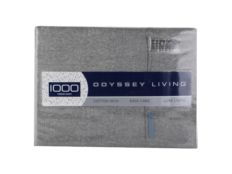 Odyssey Living Marle 1000TC Cotton Rich Sheet Set, Queen, Charcoal