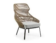 LivingStyles Ronni Rope & Steel Indoor / Outdoor Lounge Chair, Khaki