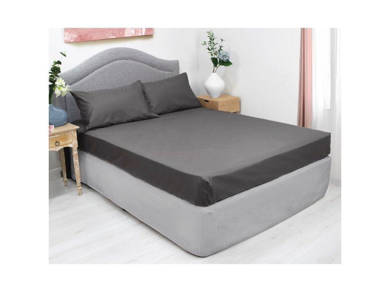 Ardor 3 Piece 1000TC Cotton Rich Fitted Bed Sheet Combo Set, Queen, Charcoal