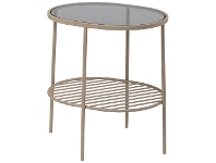 LivingStyles Aili Metal & Glass Side Table, Pale Pink