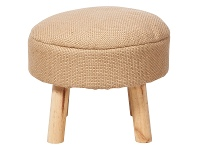 LivingStyles Rover Jute & Pine Timber Round Ottoman Stool, Natural