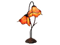 LivingStyles Lily of The Valley Tiffany Style Stained Glass Flower Table Lamp, Double Shade, Amber