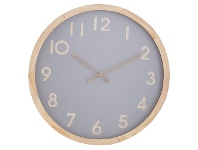 LivingStyles Riley Pine Timber Frame Round Wall Clock, 50cm, Natural / Grey