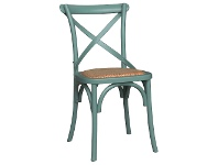 LivingStyles Sherwood Oak Timber Cross Back Dining Chair with Rattan Seat, Arctic Blue