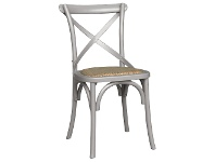 LivingStyles Sherwood Oak Timber Cross Back Dining Chair with Rattan Seat, Pewter Grey