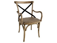 LivingStyles Sherwood Oak Timber Cross Back Dining Armchair with Rattan Seat, Natural