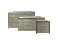 LivingStyles Mackson Wicker Outdoor Cushion Storage Box, Large Only