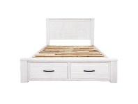 LivingStyles Lakeland Mountain Ash Timber Bed with End Drawers, Queen