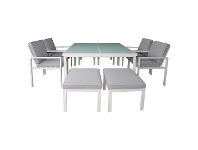 LivingStyles Roxburgh 9 Piece Outdoor Dining Table Set, White
