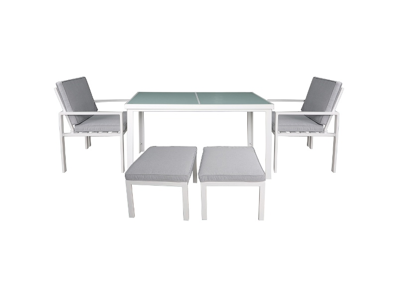 Roxburgh 5 Piece Outdoor Dining Table Set, White