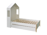 LivingStyles Honiton Arbor Bed with Trundle Storage Drawer, King Single