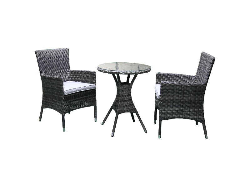 Sanford 3 Piece Wicker Outdoor Round Dining Table Set, 60cm