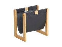 LivingStyles Kent Leather & Timber Magazine Rack
