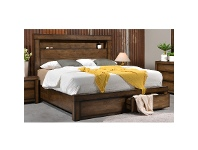 LivingStyles Stanmore Wooden Bed with End Drawers, King