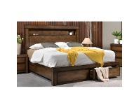 LivingStyles Stanmore Wooden Bed with End Drawers, Queen