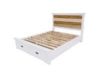LivingStyles Largo Acacia Timber Bed with End Drawers, Queen