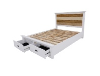 LivingStyles Largo Acacia Timber Bed with End Drawers, King