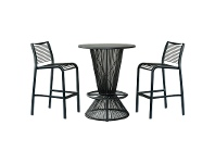 LivingStyles Wanika 5 Piece Commercial Grade Indoor/Outdoor Round Aluminium Top Bar Table Set, Black