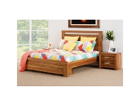 LivingStyles Waratah Wooden Bed with End Drawers, Queen