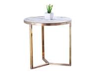 LivingStyles Lagina Marble Top Metal Round Side Table