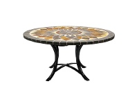 Aurora Slate Stone Round Outdoor Dining Table, Minerva Base, 120cm