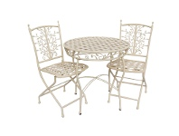 LivingStyles Filigree 3 Piece Iron Round Garden Table Set, 70cm