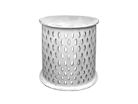 LivingStyles Quarata Wooden Round Side Table, Dirty White