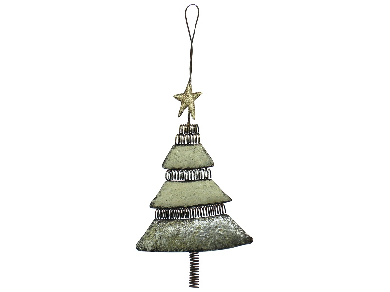 Industrial Iron Xmas Tree Hanging Ornament, Silver