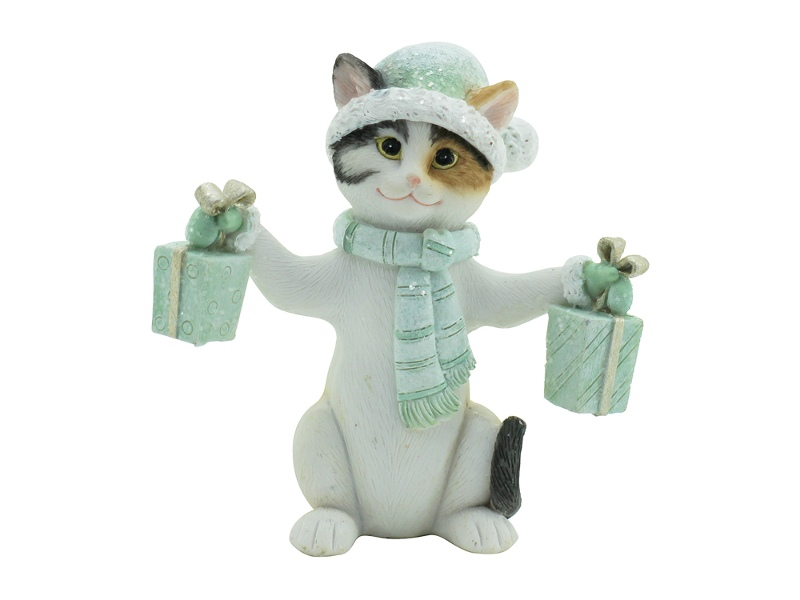 Merry Xmas Kitty Figurine, Holding Gifts, Mint