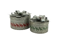 LivingStyles Lavollen 2 Piece Metal Nesting Christmas Present Box Set, Round
