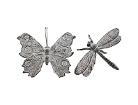 LivingStyles Bermond 2 Piece Assorted Cast Iron Dragonfly & Butterfly Sculpture Set