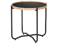 LivingStyles Tanix Wood & Metal Round Tray Top Coffee Table, 50cm