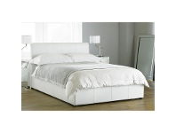 LivingStyles Deluxe Bicast Leather Bed, Queen, White