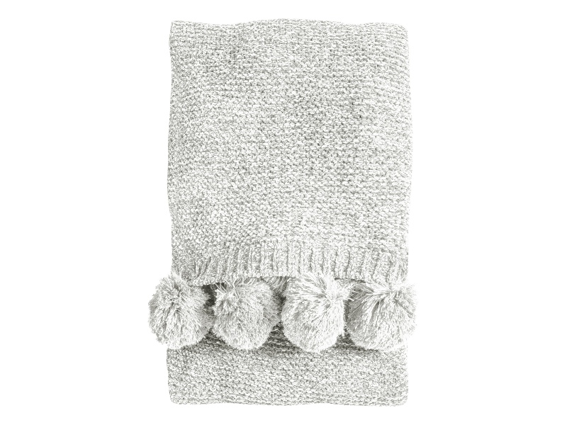 Poccon Knitted Chenille Throw, 170x130cm, Cream