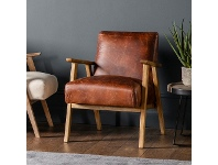 LivingStyles Nowa Leather & Timber Armchair, Vintage Brown