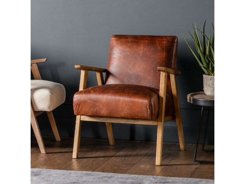 Nowa Leather & Timber Armchair, Vintage Brown