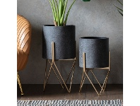 LivingStyles Haston Metal Planter on Stand, Large