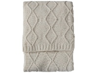 LivingStyles Patria Cable Knit Throw, 130x170cm, Cream